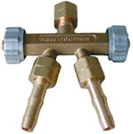 Verteiler 2-fach Gas, mit 6 mm Schlauchtüllen  | günstig bestellen bei WEBER DENTAL STUTTGART